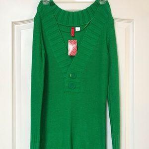 H&M Green Tunic Sweater